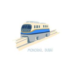 hand drawing monorail dubai icon united arab vector image