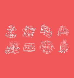 hand drawn lettering set with romantic phrases vector image