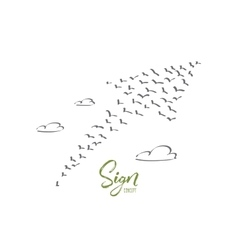 Hand drawn sign of growth formed by birds flock vector image