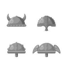 historic warrior helmet flat icon set vector image