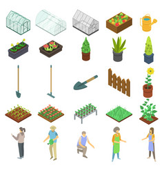 Home greenhouse icons set isometric style vector