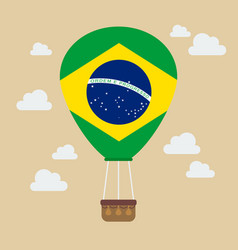 Hot air balloon with brazil flag vector