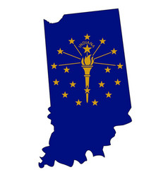 Indiana outline map and flag vector