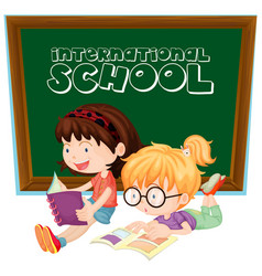 International school sign with two girls reading vector