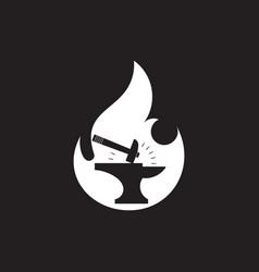 Iron hammer negative space design symbol vector