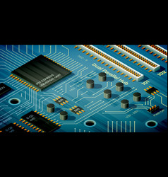 isometric motherboard vector image