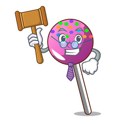 Judge lollipop with sprinkles mascot cartoon vector