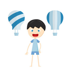 kid smiles and plays the blue balloon isolated on vector image