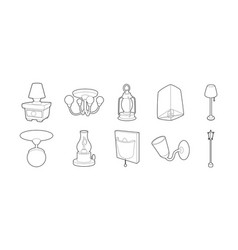 lamp icon set outline style vector image