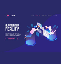 landing page concept with people flying and vector image