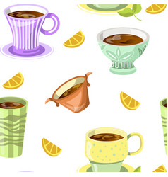 Lemon drink tea beverage in mug and citrus slices vector