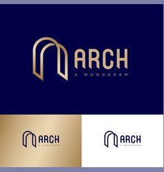 Letter a like arch monogram consist gold lines vector