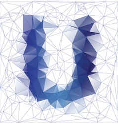 letter U low poly vector image