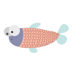 Light colours silhouette of fish with big eyes and vector