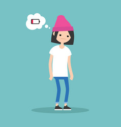 low battery conceptual young exhausted brunette vector image
