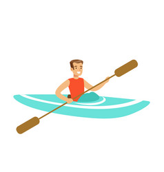 Male athlete character maneuvering kayaking vector