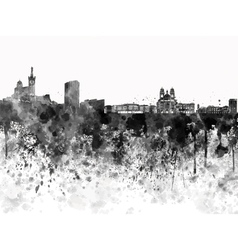 Marseilles skyline in black watercolor on white vector image