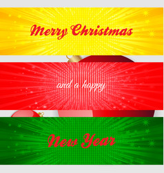 Merry christmas and happy new year panels vector