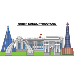 north korea pyongyang city skyline architecture vector image