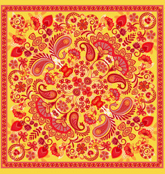 ornament paisley bandana print silk neck vector image