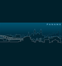 Panama city multiple lines skyline and landmarks vector