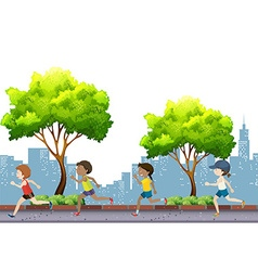 People jogging in the park vector image