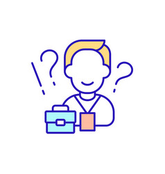 Person getting new work rgb color icon vector