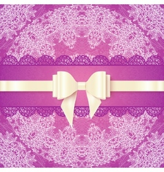 Pink lacy wedding card template with silky bow vector image