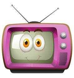 Pink television with face vector image