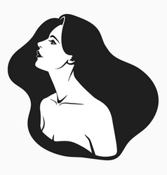 profile portrait a girl with long hair vector image
