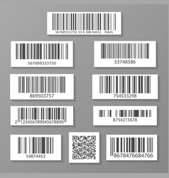realistic barcode icon set vector image
