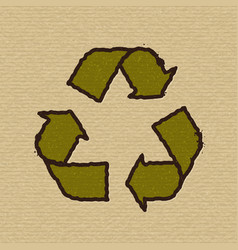 recycle symbol on cardboard vector image