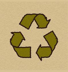 Recycle symbol on cardboard vector