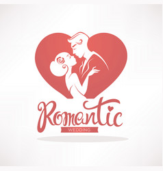 Romantic wedding logo emblem sticker for your vector