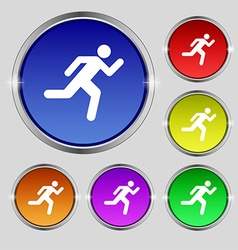 running man icon sign Round symbol on bright vector image