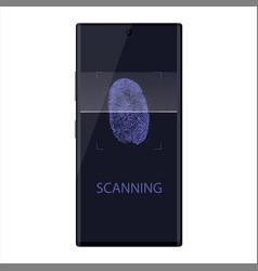 scanning fingerprint on smartphone unlock mobile vector image