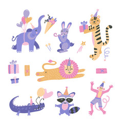 set birthday party themed jungle zoo or safari vector image