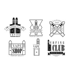set logos for vape shop and electronic vector image