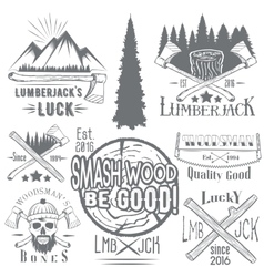 Set lumberjack and woodsman vector