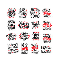 set motivational quotes about love vector image