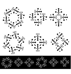 Set of 6 abstract dotted motifs elements vector