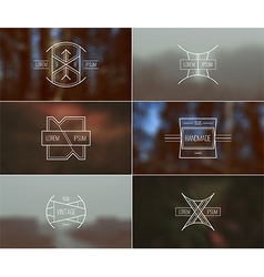 Set retro badges and blurred background vector