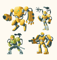 Set with androids robots cyborg humanoids vector