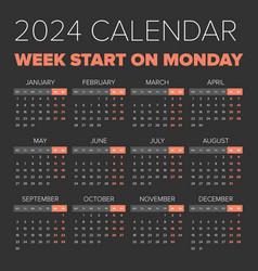 Simple 2024 year calendar vector