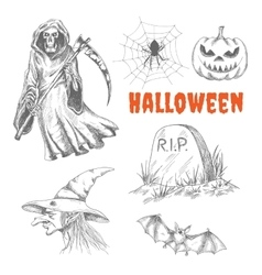 Sketched characters for Halloween decoration vector