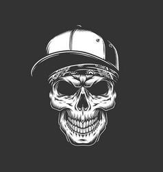 Skull in baseball cap and bandana vector