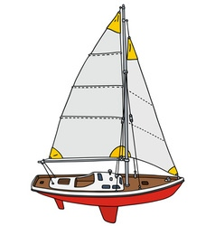 Small sailing yacht vector