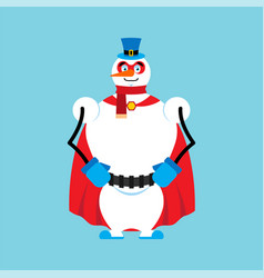 Snowman superhero super snow man in mask and vector