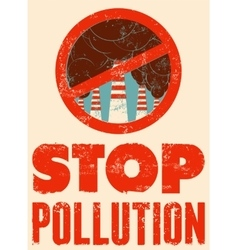 Stop pollution sign with smokestacks vector