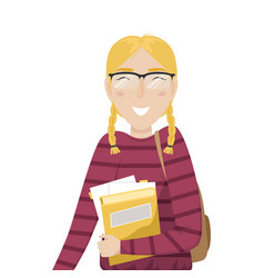 student girl with pigtails and glasses vector image